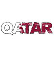 word qatar with national flag under it distressed vector image vector image