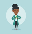 young african executive hiding bribe in pocket vector image vector image