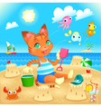 Young cat makes castles on the beach vector image