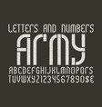 army white on black letters and numbers with vector image vector image