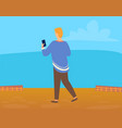 back view man or woman making photo landscape vector image vector image