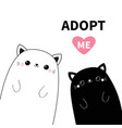 black and white cat head face icon set adopt me vector image vector image