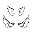 Black tattoo wings isolated on white background vector image