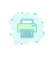 cartoon printer icon in comic style document vector image