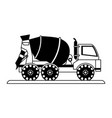 cement truck construction heavy machinery icon vector image vector image