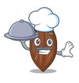 chef with food pecan nuts pile on plate cartoon vector image