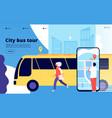 city bus tour tourists and urban bus vehicle vector image