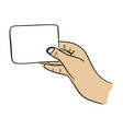 close-up hand holding blank card vector image vector image