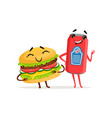 cute soda can and hamburger characters posing with vector image vector image