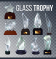 different form collection glass trophy set vector image vector image