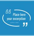 empty blue quote text box design element vector image vector image