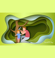 father measures growth his son vector image