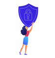female it specialist holds protection shield with vector image