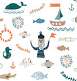 Fishes and sea food seamless pattern - nice design vector image vector image