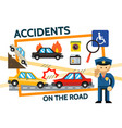 flat road accidents composition vector image vector image