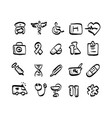 freehand medical icon set with gray shadow vector image vector image