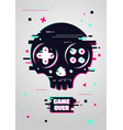 game over glitchy sign with skull and gamepad vector image