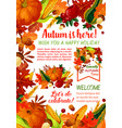 happy autumn holiday poster template vector image vector image