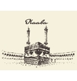 Holy Kaaba Mecca Saudi Arabia muslim drawn sketch vector image vector image