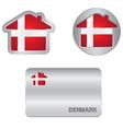 home icon on denmark flag vector image