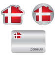 Home icon on the Denmark flag vector image vector image