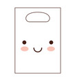 kawaii paper bag with handle in brown silhouette vector image vector image