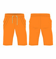 mens orange sport shorts vector image vector image