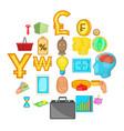 monetary abundance icons set cartoon style vector image vector image