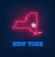 neon map state of new york on dark background vector image