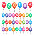 numbers and symbols balloons vector image vector image