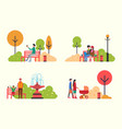 people resting in park family and friends relaxing vector image vector image