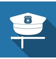 Police cap and baton flat icon with long shadow vector image vector image