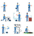 professional plumber in blue uniform at work set vector image vector image