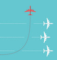 red airplane changing direction vector image vector image