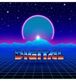 Retro styled futuristic landscape with neon arc vector image