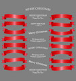 ribbon icon set red color on white background set vector image