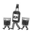 rum walks on its feet sketch engraving vector image