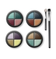 Set of MultiColored Eye Shadows and Makeup Brushes vector image vector image