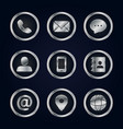 set silver business contact icons vector image vector image
