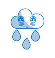 silhouette kawaii nice tender cloud raining vector image vector image