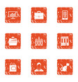 thrifty economy icons set grunge style vector image vector image