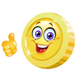 thumb up coin vector image vector image
