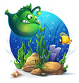 undersea world with funny green fish vector image vector image