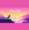 unicorn on the mountainside near the lake concept vector image