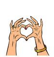 woman hands gesture heart love romance valentine vector image vector image