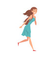 young smiling woman running with their bag to vector image vector image