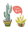 cactus hand-drawn poster grunge silhouette print vector image