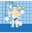 The man in the bathroom taking a shower vector image