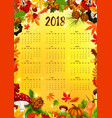 2018 calendar template with autumn leaf frame vector image