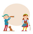 boy and girl dressed pirates with place for text vector image